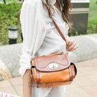 Faux-Leather Crossbody Bag Camel - One Size