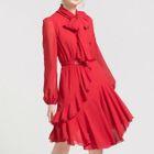 Tie-Neck Long-Sleeve Chiffon Dress 1596