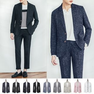 Notched-Lapel Single-Breasted Blazer White, Pink, Gray, Navy Blue, M lange Navy Blue, Blue, Beige