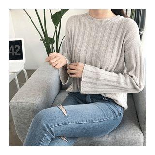 Drop-Shoulder Ribbed Knit Top 1058295910
