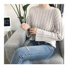 Drop-Shoulder Ribbed Knit Top 1596
