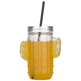 Image of Glass Drinking Cup with Straw