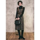Belted Plaid Midi Pinafore Dress 1596