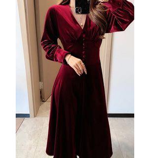 Long-sleeve | Velvet | Dress