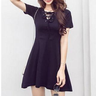 V-neck Short-Sleeve Dress 1060253965