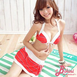 Buy BiKiNi Wonderland Set: Striped Bikini + Miniskirt Red-One Size 1022804321