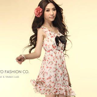 "Buy Tokyo Fashion Sleeveless ""Cherry"" Print Chiffon Dress 1022883000"