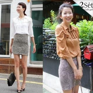 Buy Celli Girl Set: Ruffle-Accent 3/4-Sleeve Blouse + Patterned High-Waist Pencil Skirt 1023039041