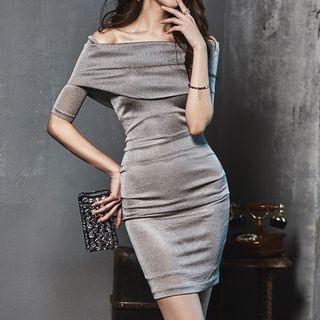 Glittered Off-Shoulder Bodycon Dress 1060427829
