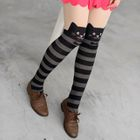 Cat Print Striped Tights Black, Gray and Nude - One Size 1596