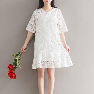Elbow-Sleeve Lace A-line Dress 1058262036