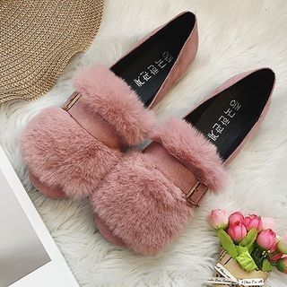 Furry Trim Loafers 1062099249