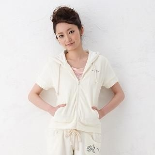 Ai Lince Short Sleeve Embroidered Hoodie Cream One Size