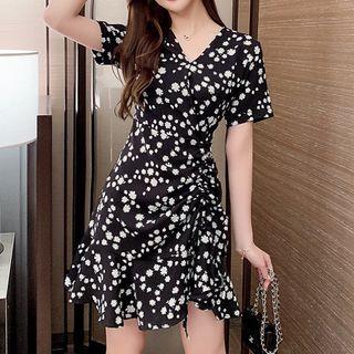 Short-sleeve   Floral   Dress   Print   Mini