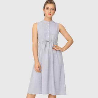 Image of Checked Sleeveless Shift Dress
