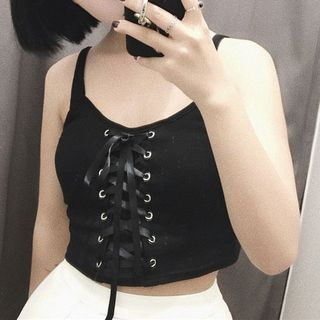 Lace up Front Cropped Tank Top 1059730957