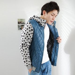 Hooded Star Print Quilted Jacket