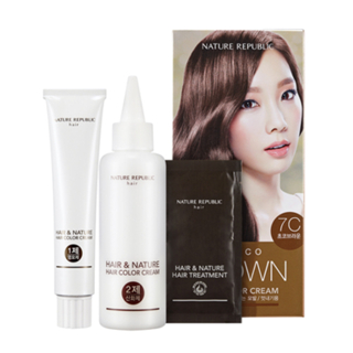Nature Republic - Hair & Nature Hair Color Cream (#7C Choco Brown): Hairdye 60g + Oxidizing Agent 60g + Hair Treatment 9g 3pcs 1050316767