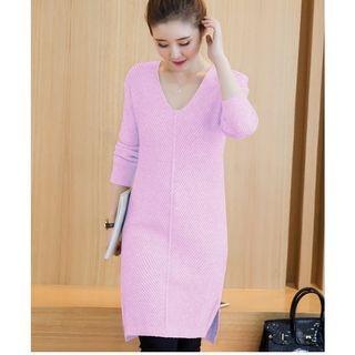 Ribbed V-Neck Sweater Dress 1053408815