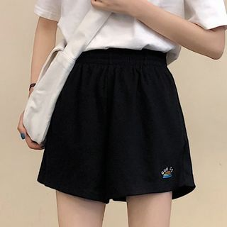 Image of Band-Waist Embroidered Wide-Leg Shorts