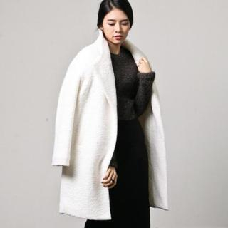 Raglan-Sleeve Wool Blend Coat