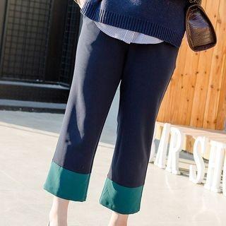 Color Block Cropped Wide Leg Pants 1065915342