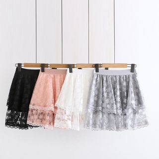 Image of Band-Waist Lace Panel Layered Mini A-Line Skirt