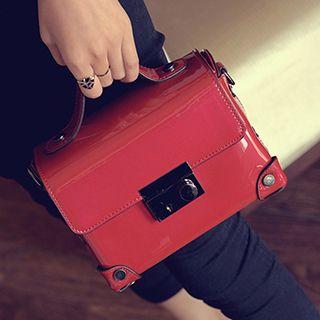 Faux Patent Leather Square Handbag 1051608870