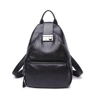 Push Lock Genuine Leather Backpack