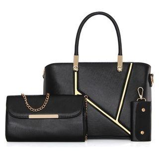 Set: Faux-Leather Handbag + Chain Strap Shoulder Bag + Key Case 1065302191