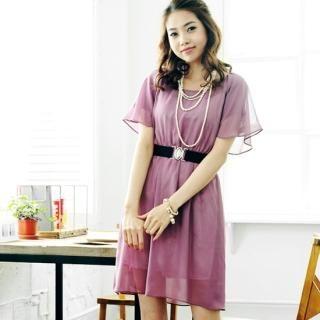 Buy NewyorkStory Flutter-Sleeve Chiffon Dress with Belt 1022585096