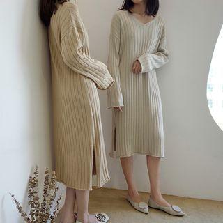 V-Neck Rib Knit Dress 1061926465