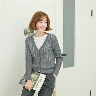 V-Neck Ribbed Cardigan 1059910241