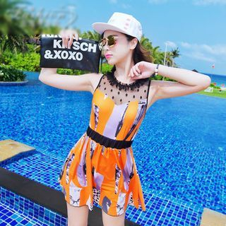 Lace Yoke Print Swimdress 1050475561