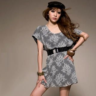 Buy I'Miusa Boatneck Print Dress with Belt 1022561467