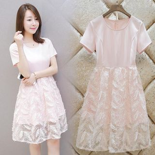 Short-Sleeve Lace Panel A-Line Dress 1054250337