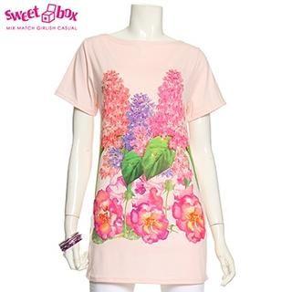 Buy Sweetbox Short-Sleeve Floral Printed Long T-Shirt 1022596957