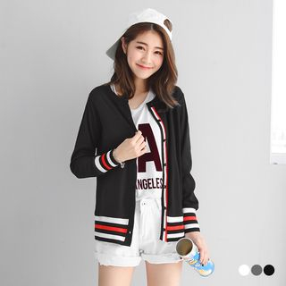 Varsity-Striped Trim Ribbed Knit Cardigan 1057274681