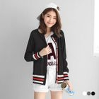 Varsity-Striped Trim Ribbed Knit Cardigan 1596