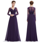 Long-Sleeve Lace Panel A-Line Evening Gown 1596