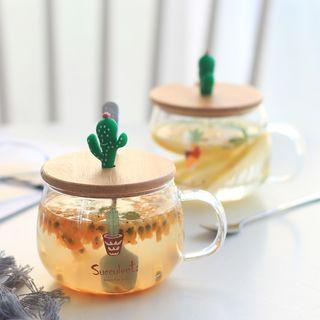 Set: Cactus Print Glass Cup + Lid + Spoon 1064034927