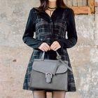 Sleeveless Wool Blend Plaid Mini Dress 1596