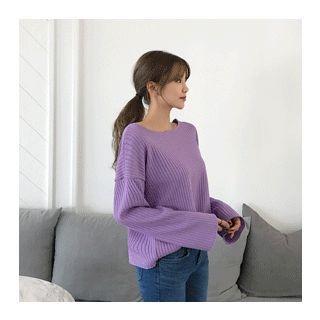 Drop-Shoulder Ribbed Knit Top 1058253926