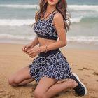 Set: Patterned Tankini Top + Swim Skirt 1596