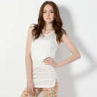 Faux Pearl-Embellished Sleeveless Tunic White - One Size 1596