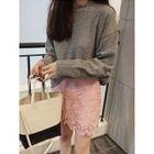 Frilled-Trim Wool Blend Knit Top 1596