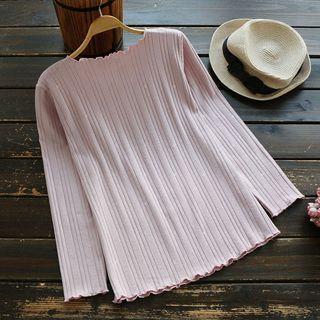Long-Sleeve Ribbed T-Shirt 1053680926