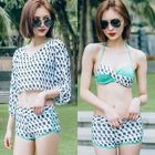 Set: Patterned Bikini + Top + Shorts 1596