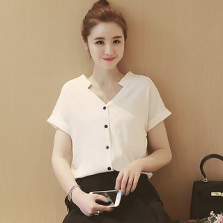 Short-Sleeve V-Neck Blouse 1049957231