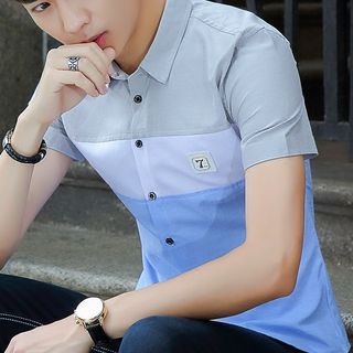 Image of Short-Sleeve Colored Panel Shirt